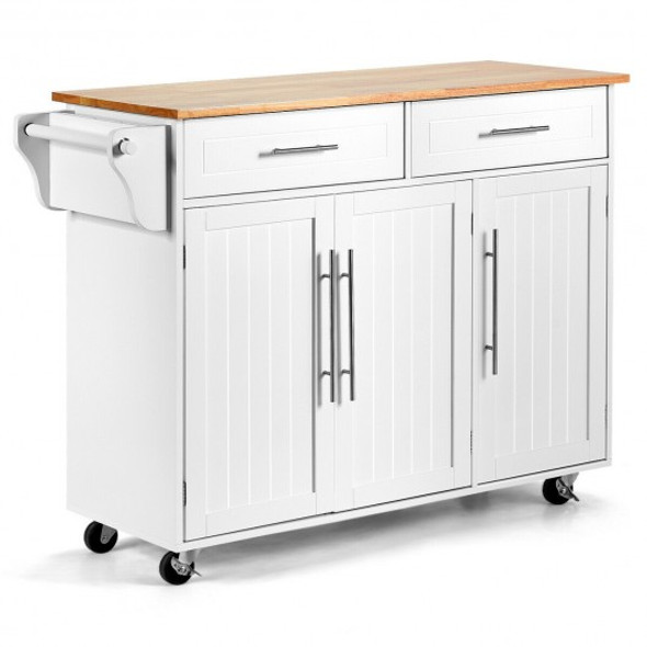 Kitchen Island Trolley Cart Wood Top Rolling Storage Cabinet-White - COHW67014WH