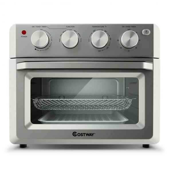 7-in-1 Healthy Oil-Free Steel Stainless Convection Air Fryer Toaster Oven with Bake Tools