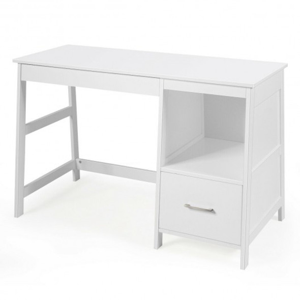 """47.5"""" Modern Home Computer Desk with 2 Storage Drawers-White"""
