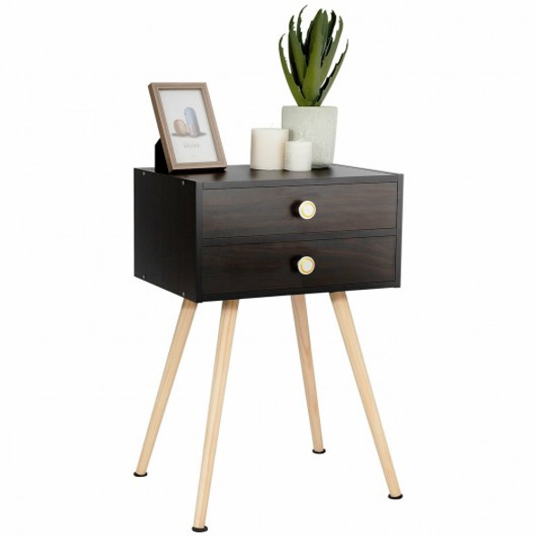 Mid Century Modern 2 Drawers Nightstand in Natural-Coffee