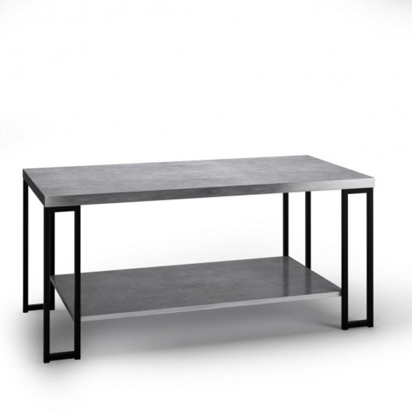 Accent Cocktail Table Coffee Table w/ Storage Shelf-Gray