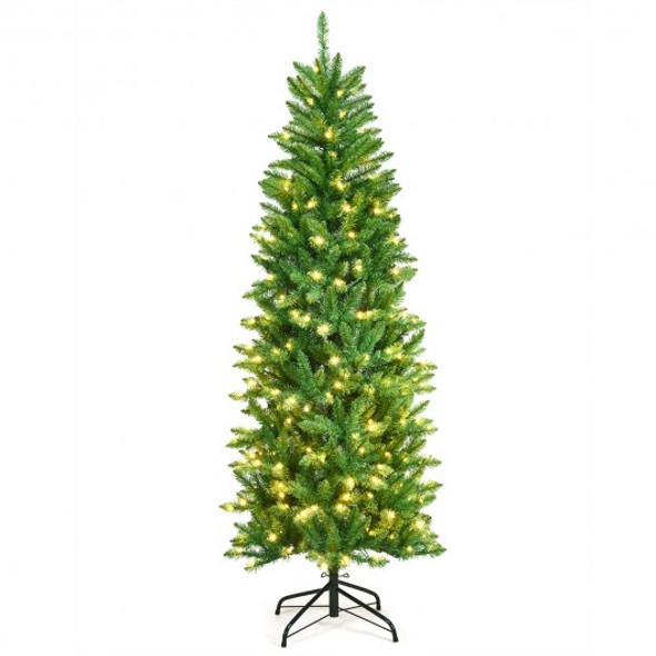 6 ft PVC Hinged Pre-lit Artificial Fir Pencil Christmas Tree with 150 Warm White UL-listed Lights-6'