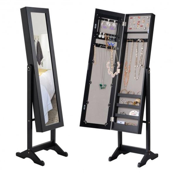 Mirrored Standing Jewelry Cabinet Storage Box-Black
