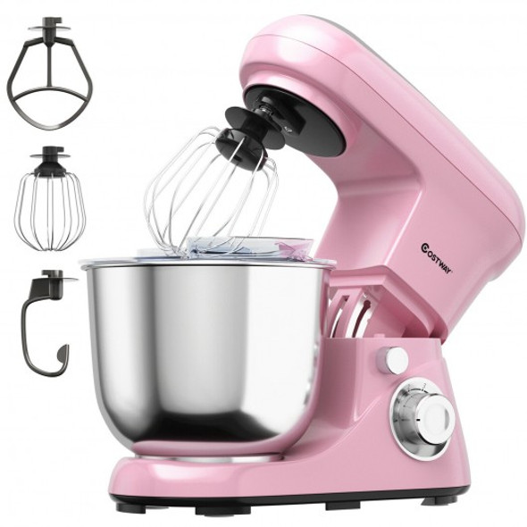 5.3 Qt Stand Kitchen Food Mixer 6 Speed with Dough Hook Beater-Pink