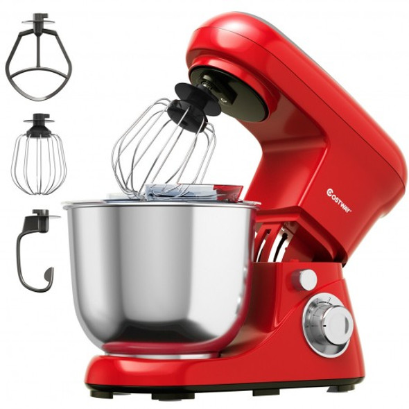 5.3 Qt Stand Kitchen Food Mixer 6 Speed with Dough Hook Beater-Red
