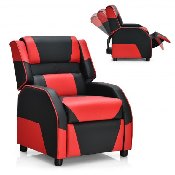 Kids Youth PU Leather Gaming Sofa Recliner with Headrest and Footrest-Red