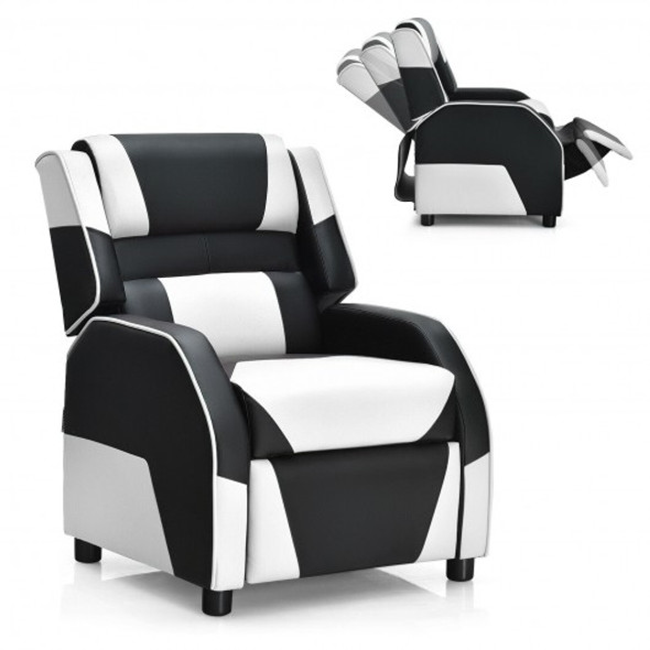 Kids Youth PU Leather Gaming Sofa Recliner with Headrest and Footrest-White
