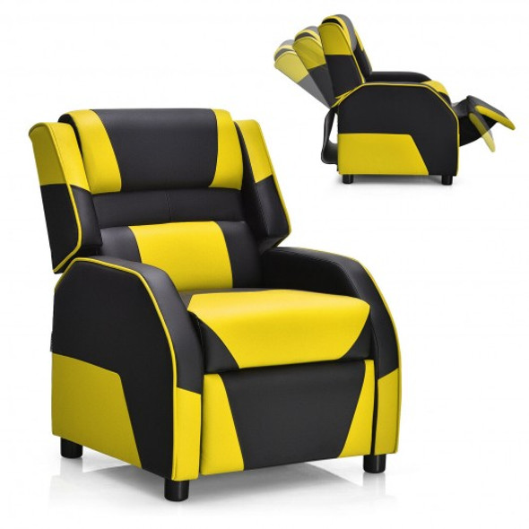 Kids Youth PU Leather Gaming Sofa Recliner with Headrest and Footrest-Yellow