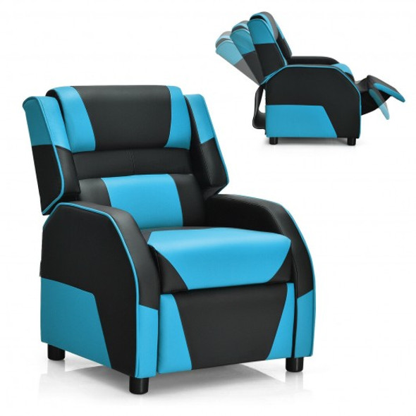 Kids Youth PU Leather Gaming Sofa Recliner with Headrest and Footrest-Blue