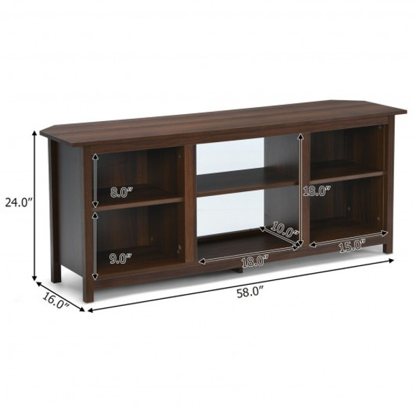 """2-Tier TV Stand 58"""" Entertainment Media Console Center Up to 65""""-Coffee"""