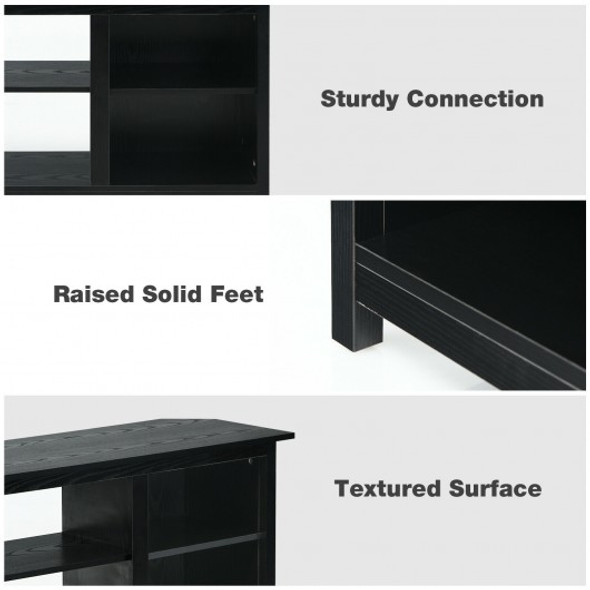 """2-Tier TV Stand 58"""" Entertainment Media Console Center Up to 65""""-Black"""