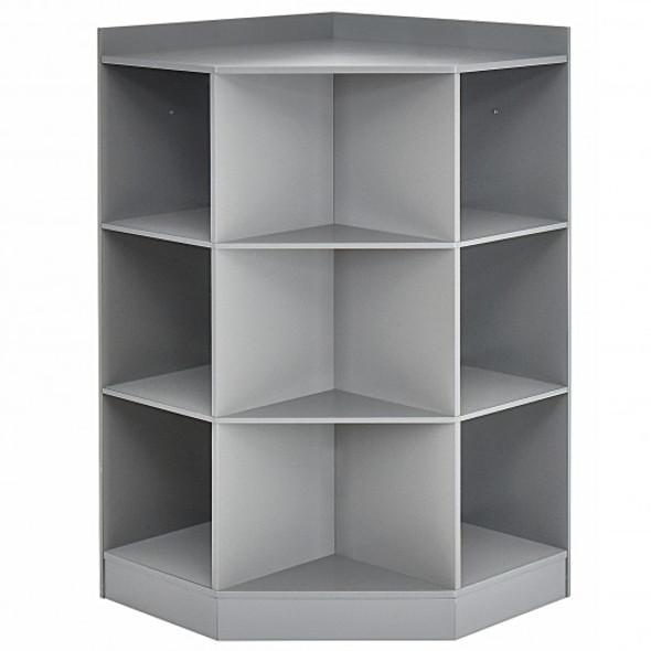 3-Tier Kids Storage Shelf Corner Cabinet with 3 Baskets-Gray