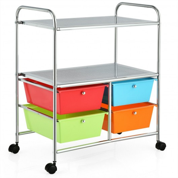 4 Drawers Shelves Rolling Storage Cart Rack-Multicolor - COHW54070MT