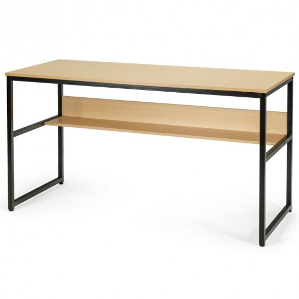 """55"""" Computer Desk Writing Table Workstation Home Office with Bookshelf-Natural"""