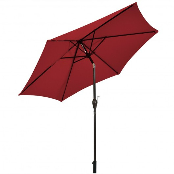 10 ft Outdoor Market Patio Table Umbrella Push Button Tilt Crank Lift-Burgundy