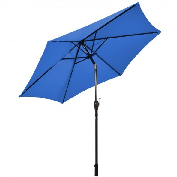 10 ft Outdoor Market Patio Table Umbrella Push Button Tilt Crank Lift-Blue