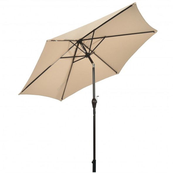 10 ft Outdoor Market Patio Table Umbrella Push Button Tilt Crank Lift-Beige