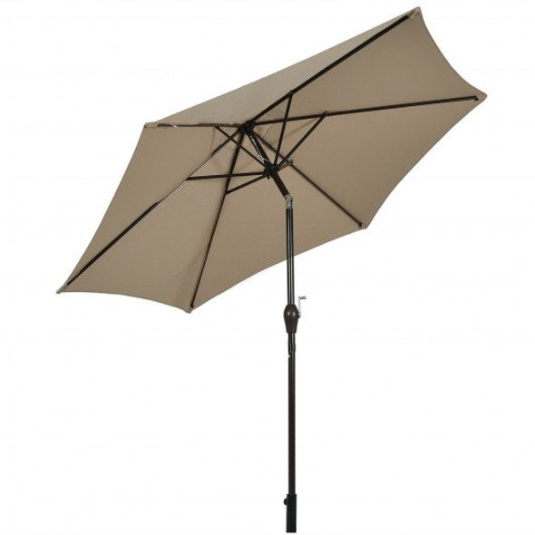 10 ft Outdoor Market Patio Table Umbrella Push Button Tilt Crank Lift-Tan