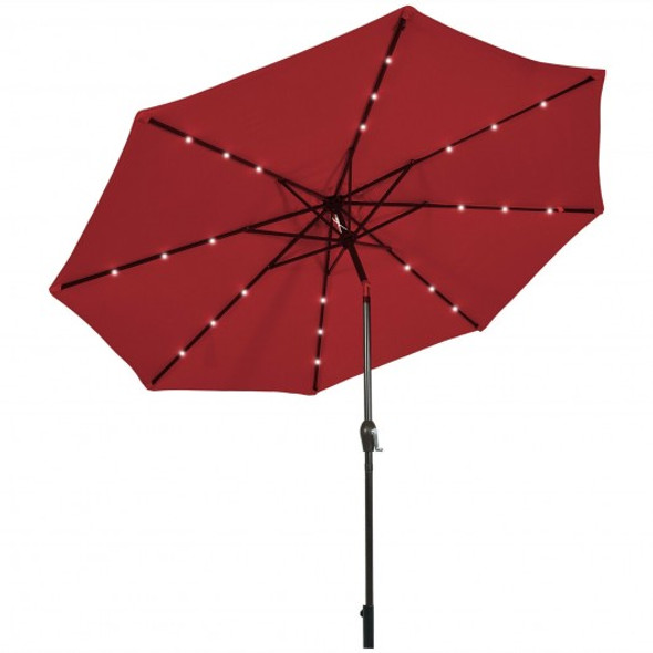 10' Solar LED Lighted Patio Market Umbrella Shade Tilt Adjustment Crank-Burgundy