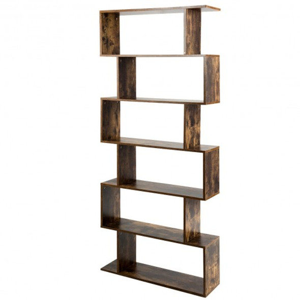 6-Tier S-Shaped Bookcase Z-Shelf Style Storage Bookshelf-Coffee - COHW66293CF