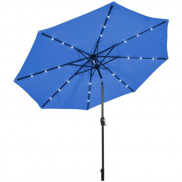 10' Solar LED Lighted Patio Market Umbrella Shade Tilt Adjustment Crank-Blue