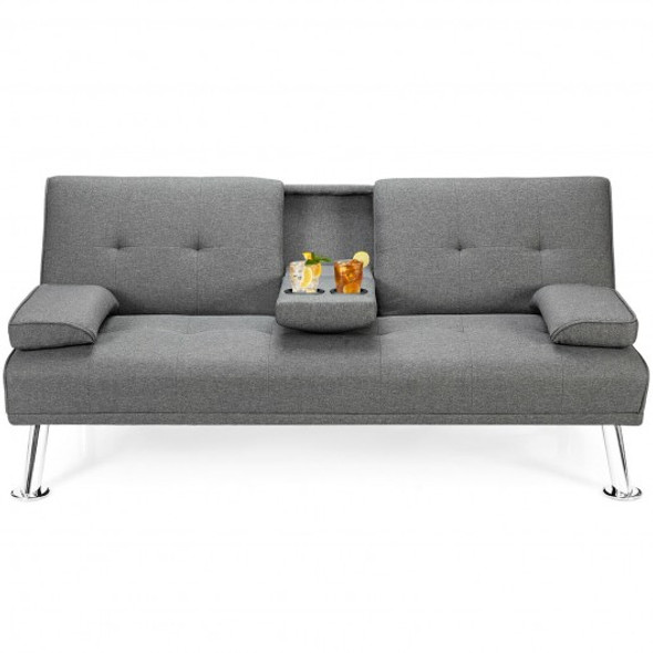 Convertible Folding Futon Sofa Bed Fabric with 2 Cup Holders-Light Gray