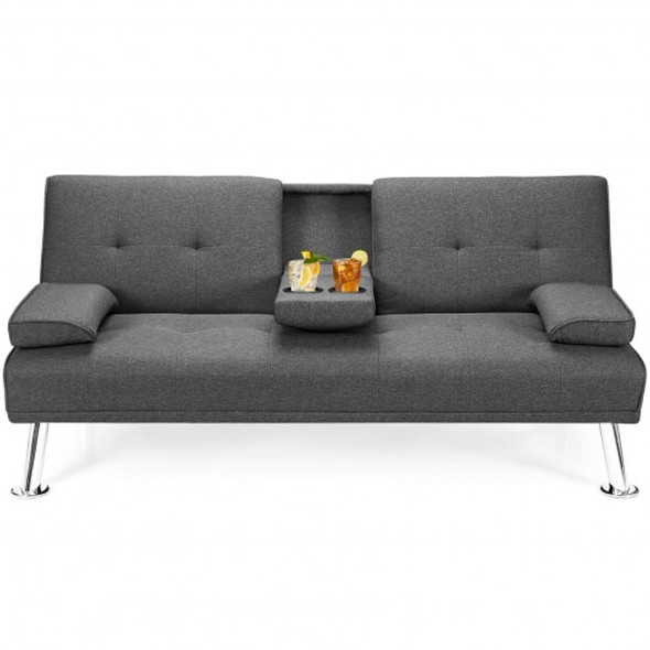 Convertible Folding Futon Sofa Bed Fabric with 2 Cup Holders-Dark Gray