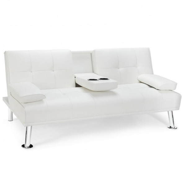 Convertible Folding Leather Futon Sofa with Cup Holders and Armrests-White