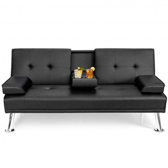 Convertible Folding Leather Futon Sofa with Cup Holders and Armrests-Black