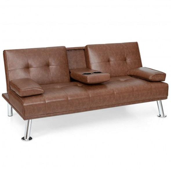 Convertible Folding Leather Futon Sofa with Cup Holders and Armrests-Brown