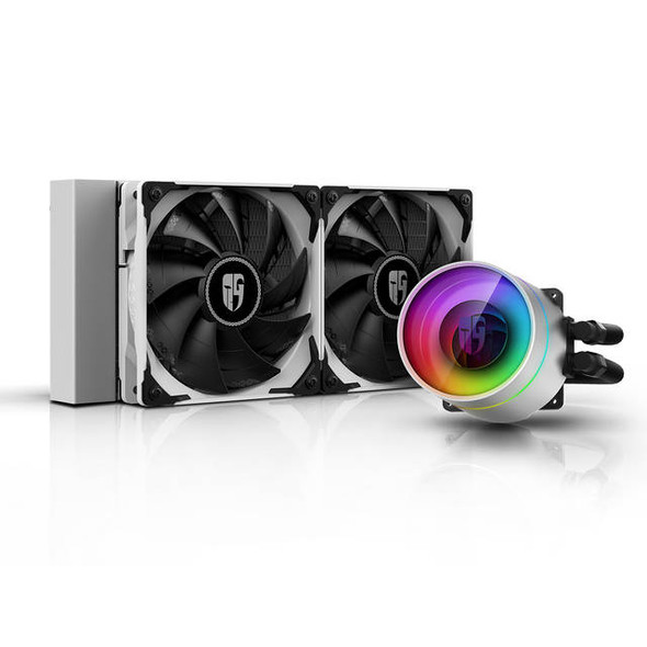 DEEPCOOL CASTLE 240 EX WHITE CAPTAIN 240EX RGB V2, AIO Liquid CPU Cooler, Anti-Leak Technology Inside, Sync RGB Waterblock and Fans with Cable Contro