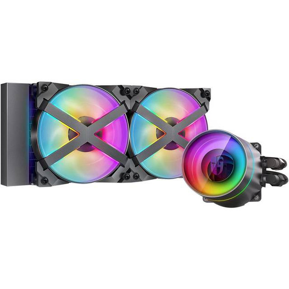 DeepCool CASTLE 240EX RGB AIO Liquid CPU Cooler, Anti-Leak Technology, Two MF120GT A-RGB PWM Fans, Wire Controller and 5V-D-G 3-Pin Motherboard Conne