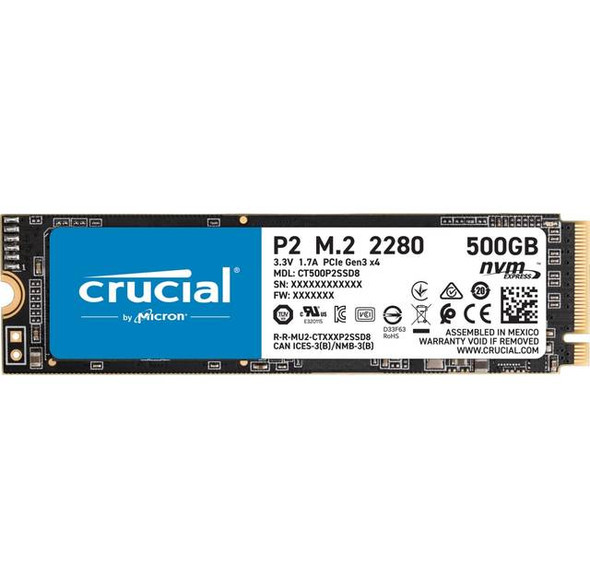 Crucial P2 500GB M.2 2280 PCI-Express 3.0 NVMe Solid State Drive (Micron 3D NAND)