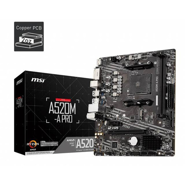 MSI A520M-A PRO Socket AM4/ AMD A520/ DDR4/ SATA3&USB3.2/ M.2/ Micro-ATX Motherboard