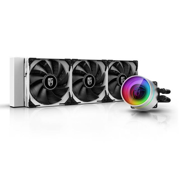 DEEPCOOL Castle 360EX WH, Addressable RGB AIO Liquid CPU Cooler, Anti-Leak Technology Inside, Cable Controller and 5V ADD RGB 3-Pin Motherboard Contr