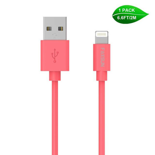 Foxsun AM001007 iPhone Charging Cable 6.6 FT/2M Lightning Cable for iPhone 7/7Plus/6/6Plus/6S/6S Plus/5/5S/5C/SE, iPad Pro/Air/Mini (Red)