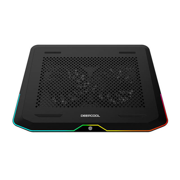 DEEP COOL N80 RGB Laptop Cooling Pad, 16.7 Million RGB Colors LED, Pure Metal Panel, Two 140mm Fans, Two Adjustable Angels, Two USB 3.0 Ports, Capaci