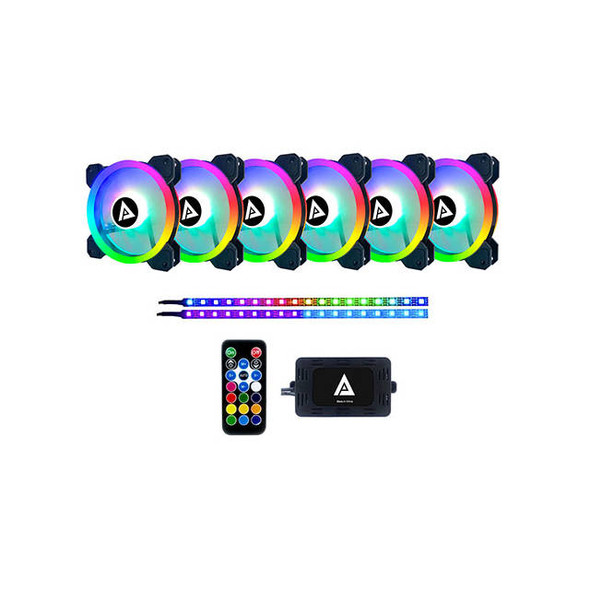 APEVIA TL612L2S-RGB TWILIGHT 120MM SILENT ADDRESSABLE RGB COLOR CHANGING LED FAN + 2 COLOR CHANGING MAGNETIC LED STRIPS (6+2-PK)