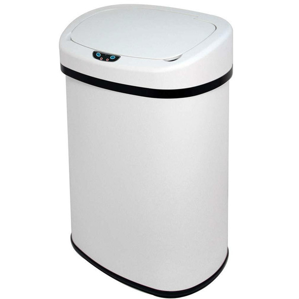 White 13-Gallon Kitchen Trash Can with Touch Free Motion Sensor Lid