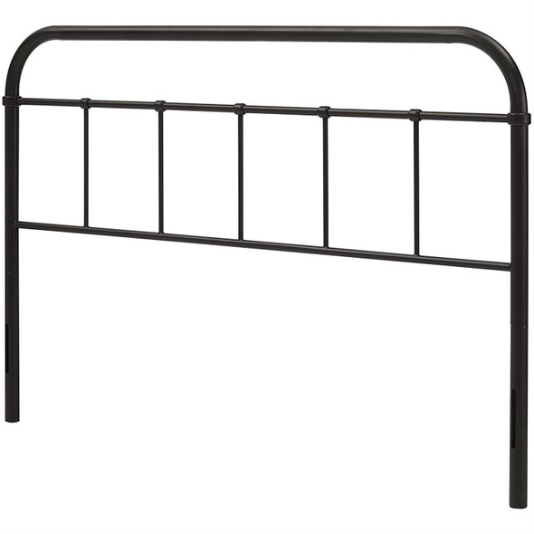 Full size Vintage Dark Brown Metal Headboard with Rounded Corners