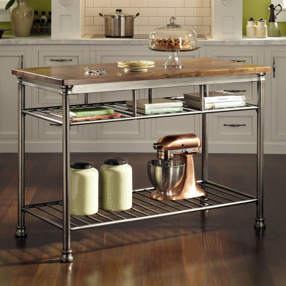 Classic French Style Hardwood Butcher Block Top Metal Kitchen Utility Table