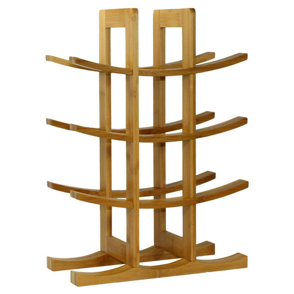 12-Bottle Wine Rack Modern Asian Style in Natural Bamboo