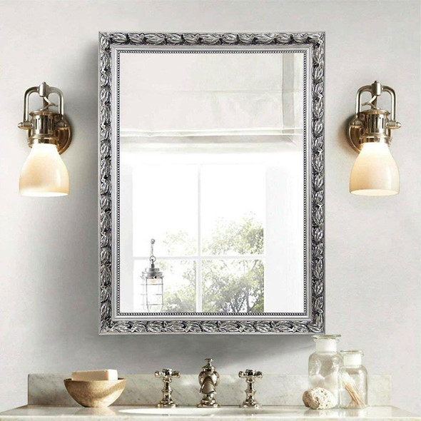 Large 38 x 26 inch Bathroom Wall Mirror with Baroque Style Silver Wood Frame