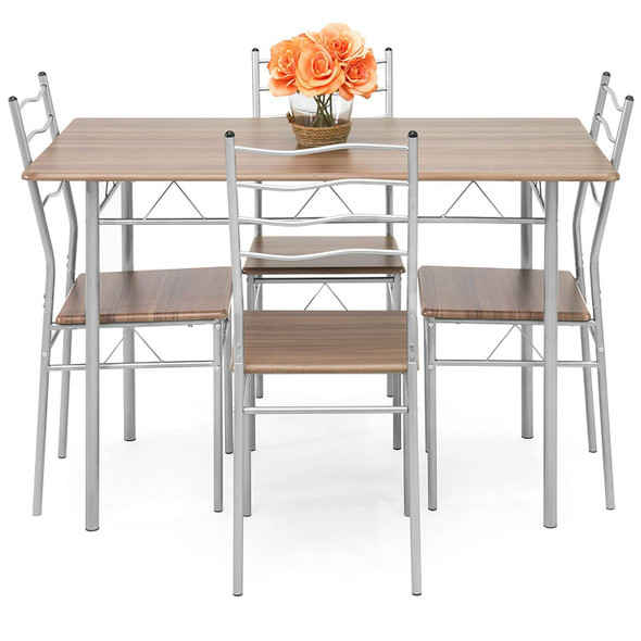 5-Piece Wooden Kitchen Table Dining Set with Metal Legs, 4 Chairs, Brown/Silver