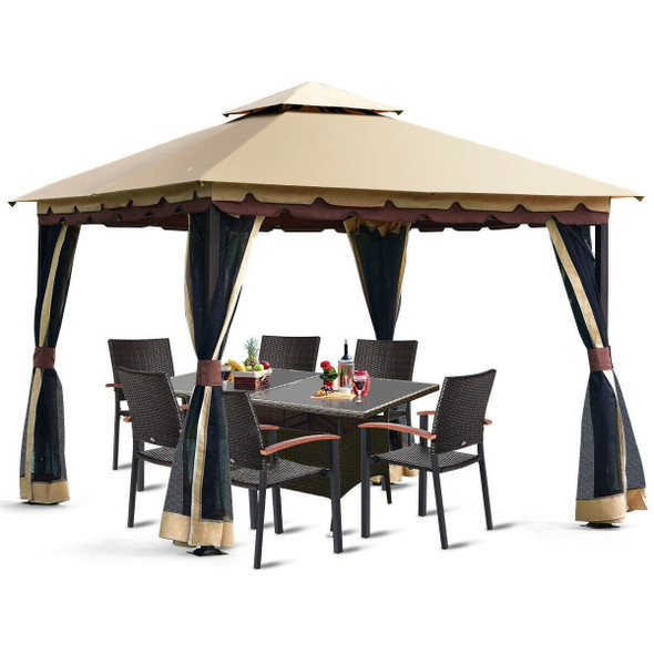 10 x 10 Ft Outdoor Gazebo with Taupe Brown Vented Canopy and Mesh Side Walls