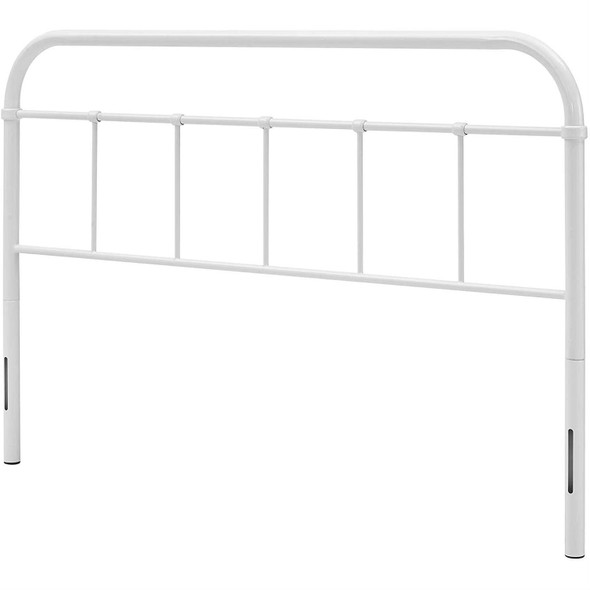 Queen size Vintage White Metal Headboard with Round Corners