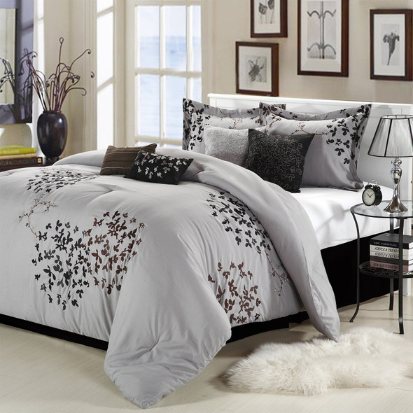 Queen size 8-Piece Comforter Set in Silver Gray Black Brown Floral