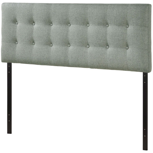 Full size Grey Fabric Button-Tufted Upholstered Headboard