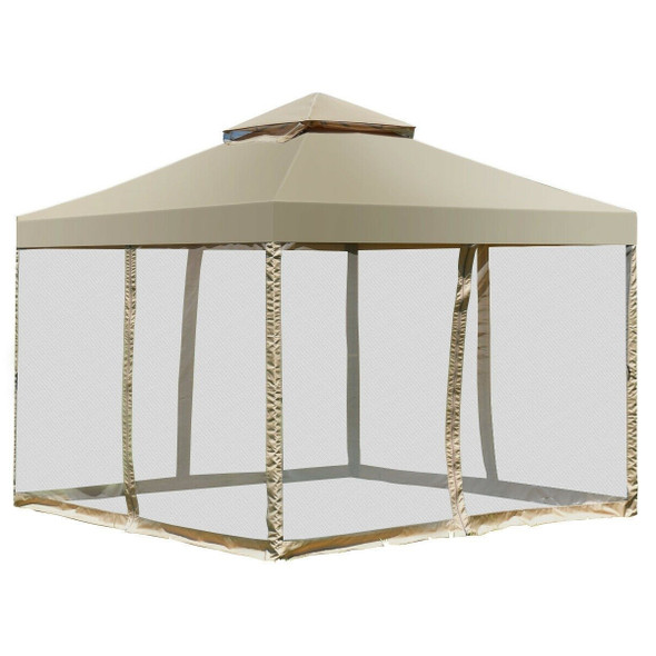 10 x 10 Ft Outdoor Gazebo with Tan Brown Polyester Canopy and Mesh Side Walls