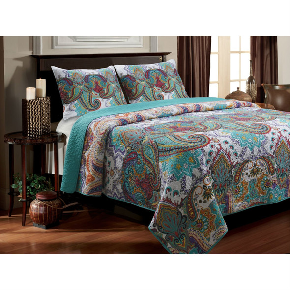 Twin size 3-Piece Cotton Quilt Set in Teal Multi-Color Paisley Pattern